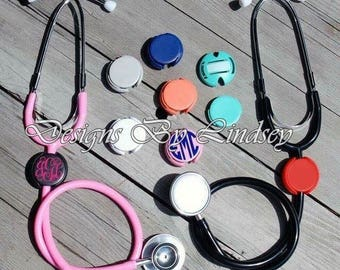 Stethoscope Name Tag Cover. Monogram. Nurse. Doctor. Personalize.