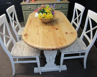 Solid Pine Dining Table and 4 Chairs - Farmhouse Style - Dairy White Eggshell