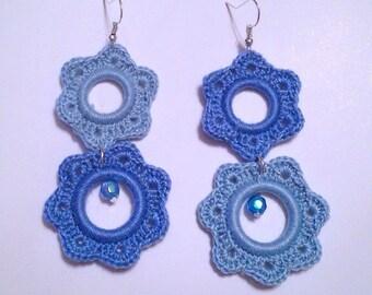 Blue crochet Flower Earrings