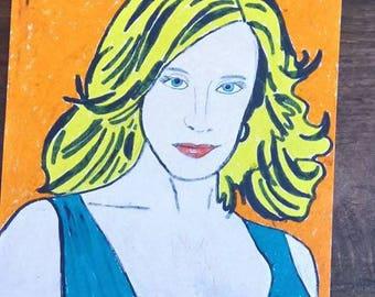 drawing woman amid orange