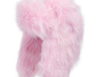 Explorer Ushanka Winter Trapper Faux Fur Pilot Hat with Ear Flaps PINK