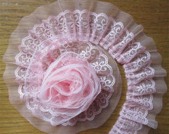 2 3/8 inch wide Pink Pleated Organza Lace  Trim price for 1 yard