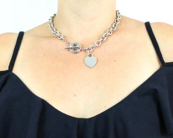 Iconic Tiffany & Co Chunky Silver T-bar Necklace with Blank Heart Charm