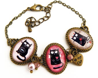Bracelet three medallions black cats Angel and Devil