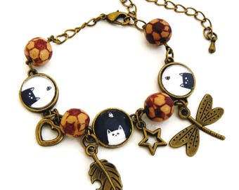 Black cat with wooden Beads Bracelet
