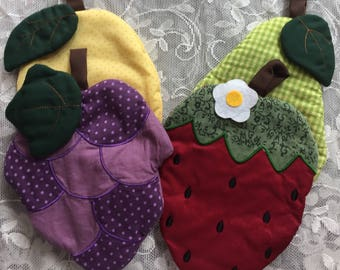 Vintage Handmade Oven Mitts, Fruit Shaped Pot Holders
