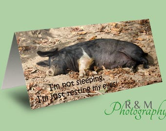 pig greeting card - funny saying card - animal quote card - pig - any occasion card - sleep card - sleepy quote card - personalised card