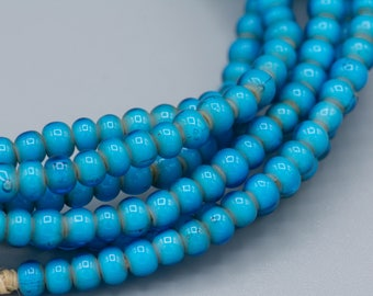 "150 Turquoise White Heart Trade Bead 4-5mm 20"" Strand"