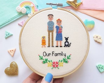 Custom Cross Stitch Family Portrait - Personalised Cross Stitch - Custom Portrait - Stitch Portrait - Cross Stitch Family - Anniversary gift
