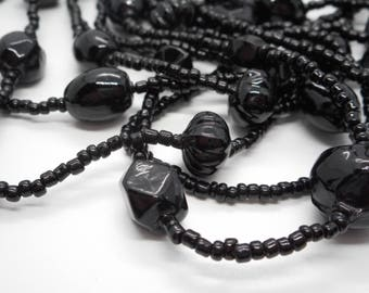 Antique Victorian 42 Inch Long Black French Jet Glass Bead Necklace Mourning Flapper Length