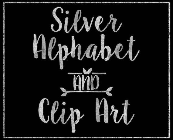 Silver Paper Alphabet Clip Art - Digital Alphabet - Scrapbooking, Card Making, Invitations - Printable Alphabet - Silver Digital Alphabet