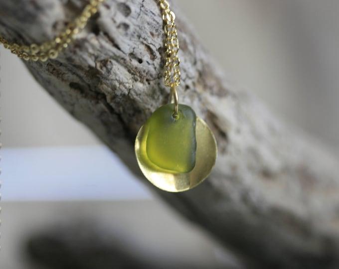 Irish Seaglass Necklace   Seaglass Jewellery    Jewelry   Green Seaglass   Beachglass