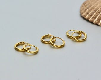 Gold Hoops, 8mm Gold Ear Hoops, Ear Hoops, Delicate Earrings, Piercing Hoops, Tiny Body Hoops, Gift Ideas, Cartilage Hoops,(EG36X3)