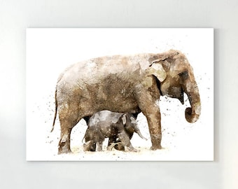 Elephant print, elephant wall art, watercolor elephant, elephant nursery, baby elephant, elephant painting, baby elephant print, elephants