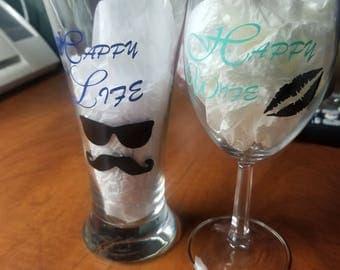 Custom wine glass set