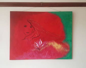 Red Painting- Lotus girl
