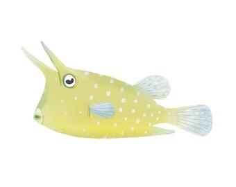 art print illustration yellow longhorn cowfish