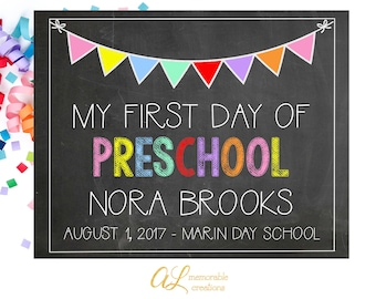 First Day of Preschool Sign, First Day of School Sign, First Day of School Chalkboard, Boy Girl First Day, Back to School, Digital