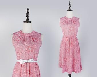 Flower Print Pleated Sleeveless Pink Vintage Women Dress Size M