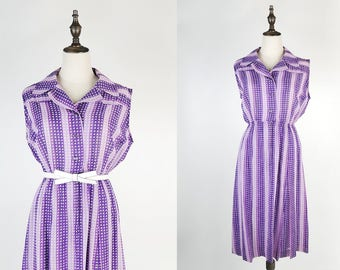 Purple Shaded Strip Notched Collar Sleeveless Violet Vintage Pleated Dress Size M