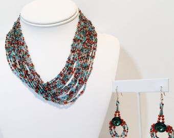 The Egyptian, A Beaded Necklace and Earring Set