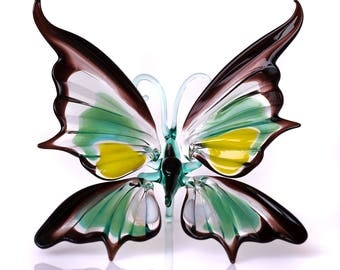 Glass Butterfly Figurine Realistic insect statuette home decor figure art glass sculpture collectible miniature glass butterfly statuette