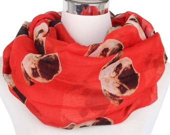 Pug Lovers Accessory, Dog print scarf, Echarpe, Infinity Scarf, Animal Scarf, Holiday Christmas, Gift For Her, For Women, men Winter Scarf