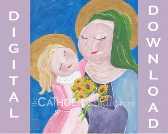Child Virgin Mary with Saint Anne - Catholic art - DIGITAL PRINT DOWNLOAD - 8x10  - Blessed Mother