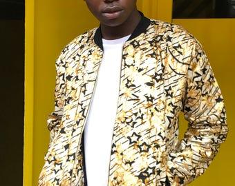 African Bomber Jacket - Metallic Jacket - Gold Jacket - Shiny Jacket - African Clothing - African Jacket - Festival Jacket - Wax Bomber