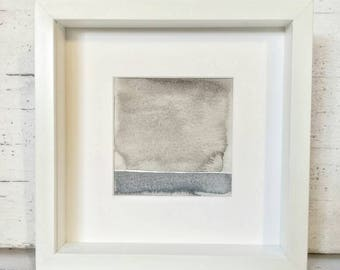 Minimalistic painting in watercolor of a monochromatic grey landscape shades 5x5 inches // NO FRAME