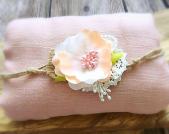 Soft Cheesecloth Wrap with headband Baby Newborn Photography Prop In Peach