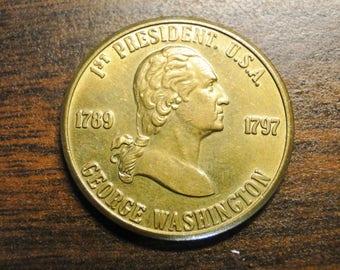 "George Washington Token George Washington First President Token - Gold Tone - 1 1/8"" - Neat Token!"