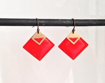Sequins - diamonds - red earrings