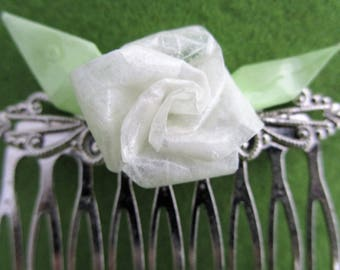 rose hair comb rose comb rose hair hair comb floral white rose