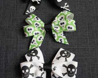 "Halloween 3"" Hair Bow/Clip Set - Skull, fall"