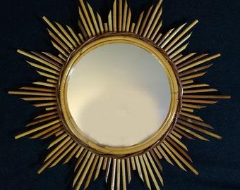 Vintage Bamboo Sunburst Mirror, Rattan Mirror