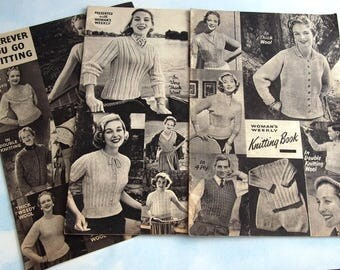 Vintage Mid Century Knitting Pattern Booklets x 3, Woman's Weekly Family Knitting Patterns,