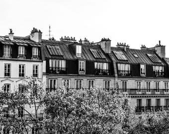 Landscape Paris Rooftops BW - Paris Photography  - Paris Decor - Black and White  - Fine Art Photography  - Avenue Pigalle BW  - 0097