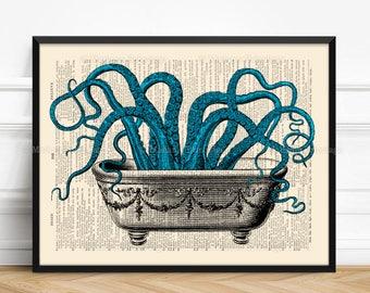 Octopus In Bathtub, Funny Kraken Art, Dorm Decorations, Tentacles Bathroom, Wife Xmas Gift, Cool Octopus, Sea Life Poster, Vintage Home  521