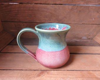 Mug, Handmade Mug, Ceramic Mug, Pottery Mug, Big Mug,Large Mug, Coffee Mug,  TeaMug, Pink Mug, Pink and turquoise Mug, Pottery, Ceramic