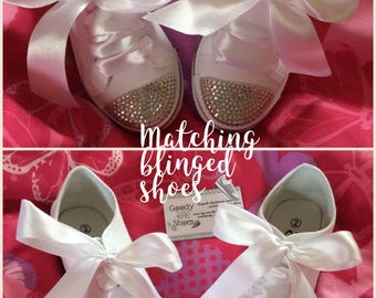 2 pairs of Blinged out shoes, mummy/daughter shoes, matching blinged shoes, wedding shoes, bridesmaids shoes, brides shoes, converse style
