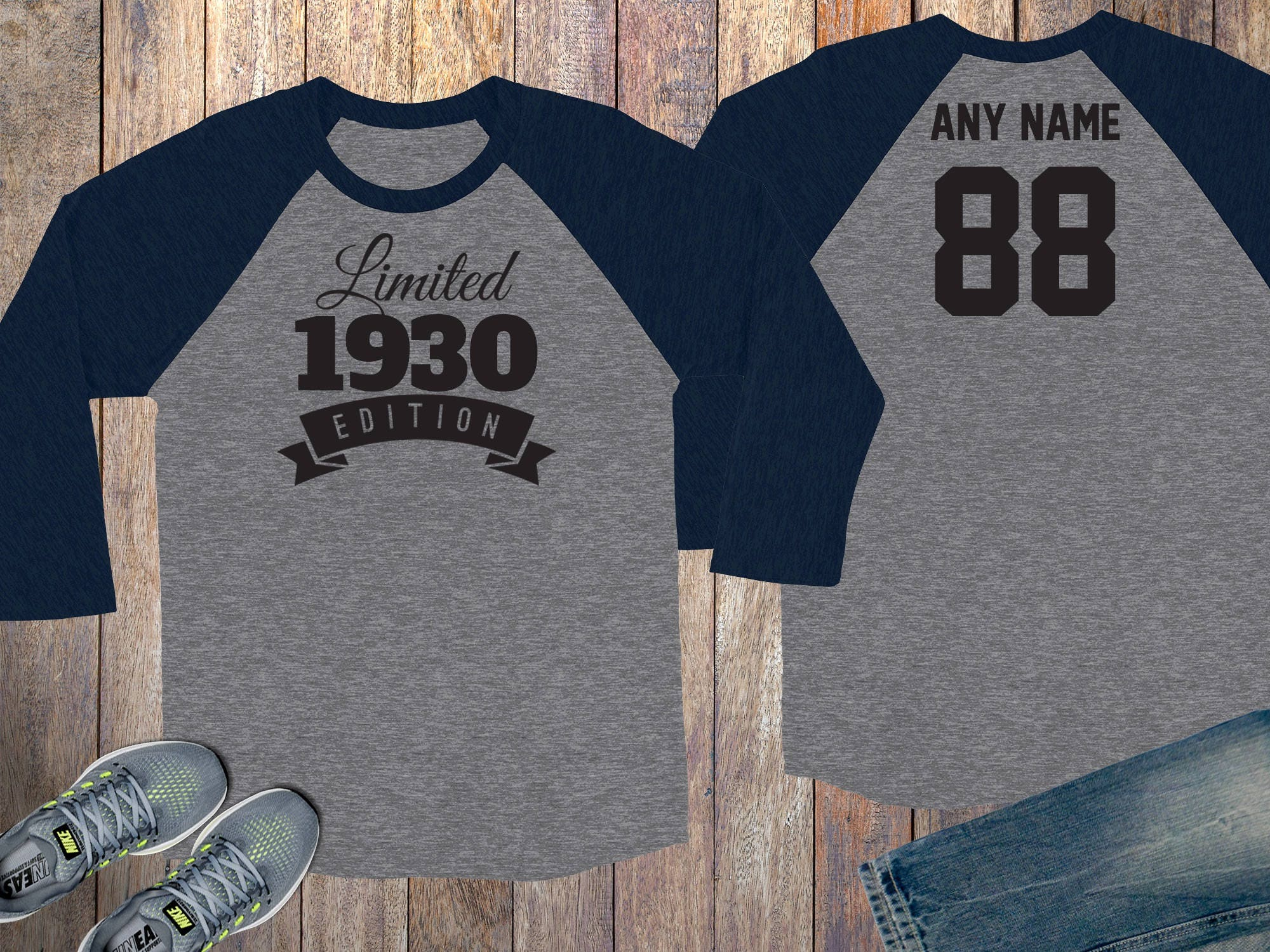 88th Birthday Gift For Men And Women Idea Limited Edition Celebration 88 Year Old Raglan Baseball Tee Shirt 1930