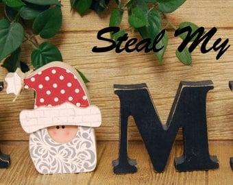 "Santa Head: Christmas Letter Decoration ""O"" Insert ONLY - Craft for ""H M E"", ""L V E"" or ""WELCME"" Letter Set"
