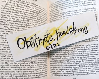 Obstinate, Headstrong Girl! Bookmark: In Yellow.
