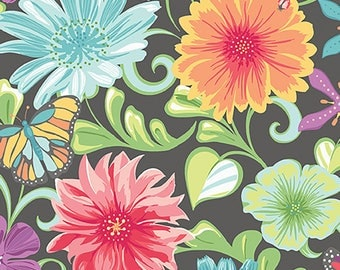 Meadow Dance by Amanda Murphy for Benartex Grey Multi Wildflowers = flower feminine quilting precut fabric 4040B-11