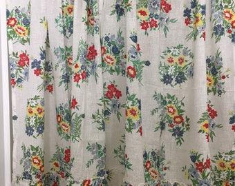 1940's -1950's Beautiful Cotton Cottage Floral Curtains