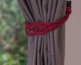 Christmas decor rope red knot curtain tiebacks small shabby chic nautical style festive curtain hold-backs holiday decoration home red