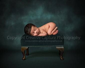 Newborn Digital backdrop / background / antique stool / green / blue grey