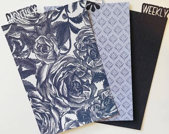 Planner bookmark dividers - personal/A5/pocket, navy roses