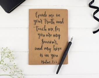 Christian Prayer Journal, 'Guide Me' Bible Journal, Kraft Scripture Journal, Confirmation Gift - Notepad, Notebook - Eco Friendly